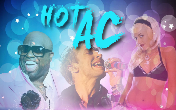 Hot AC plays a mix of hit songs from the 2000′s and today. The format is positioned squarely between CHR and Adult Contemporary stations. It's Top 40 radio for adults, with an upbeat tempo, a fun DJ presentation and large-scale promotions.